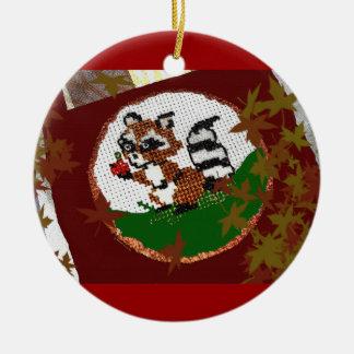 Ornament:  Fall, Cross-Stitch Crafts, Art Ceramic Ornament