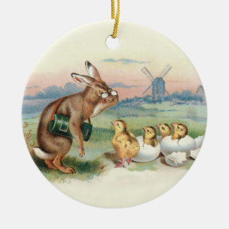 Ornament for Lovers of Rabbits and Vintage Art
