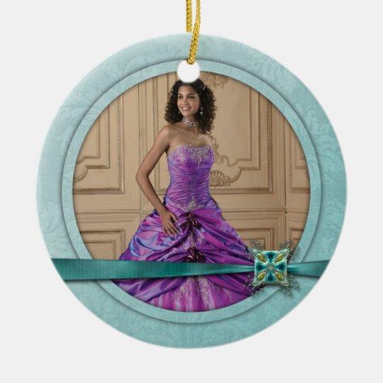 Ornament Girly Teal Jewel Ribbon Sweet 16