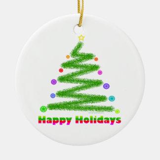 ORNAMENT - HAPPY HOLIDAYS CHRISTMAS TREE DESIGN