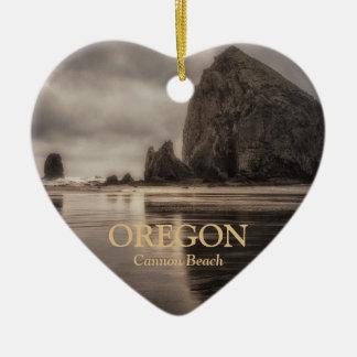 Ornament: Haystack Rock And Needles (Heart) Ceramic Ornament
