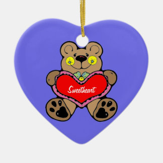 Ornament (heart) - Cute Brown Bear Holding Heart