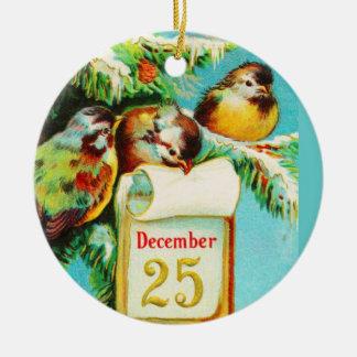 Ornament-Holiday Art-Vintage Christmas 5 Ceramic Ornament