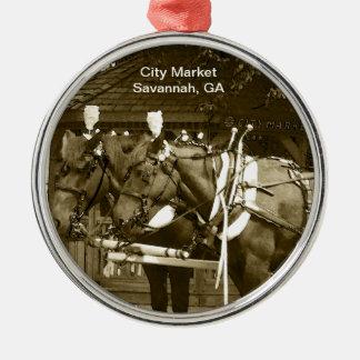 Ornament - Horses at City Market  tinted