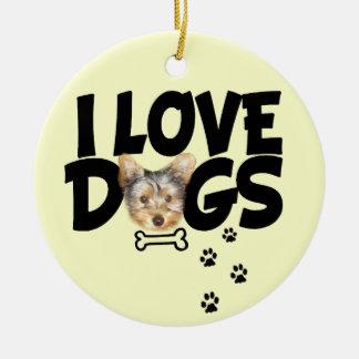 "ornament ""I love dogs"""