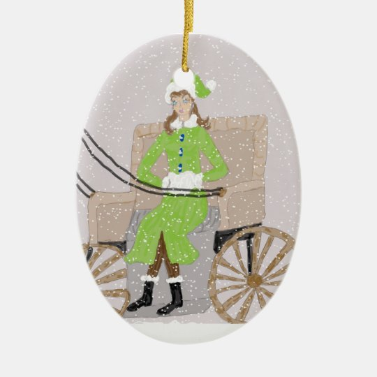 Ornament, Lady in a Buggy in Snow Ceramic Ornament