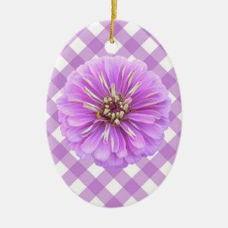 Ornament - Lilac Zinnia on Lattice