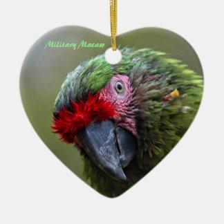 Ornament: Military Macaw (Heart) Ceramic Ornament