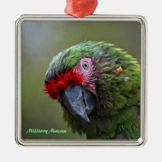 Ornament: Military Macaw (Premium Square) Square Metal Christmas Ornament