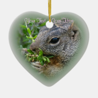 Ornament: Munchy Squirrel (Heart) Ceramic Ornament
