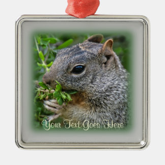 Ornament: Munchy Squirrel (Premium Square) Square Metal Christmas Ornament