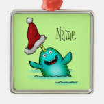 Ornament, Name Template Cute Narwhal Santa Metal Ornament