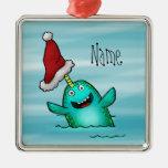 Ornament, Name Template Cute Narwhal Santa Square Metal Christmas Ornament