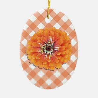 Ornament - Orange Zinnia on Lattice