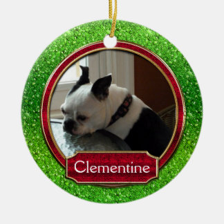 Ornament Photo FAUX Green Red Sparkle For Pets