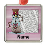 Ornament, Photo & Name Template, Cat Snowman