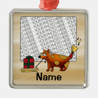 Ornament, Photo & Name Template, Dog Sled Present Square Metal Christmas Ornament