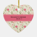 Ornament Pink and Cream Floral Wedding Keepsake