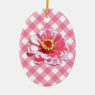 Ornament - Pink Zinnia on Lattice