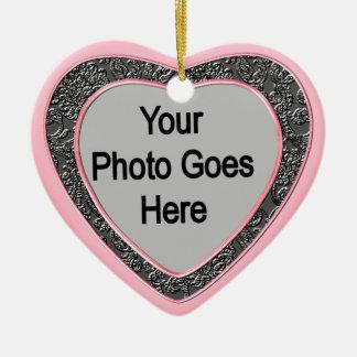 Ornament_PinkBlackFrame en forma de corazón Ornamento Para Reyes Magos