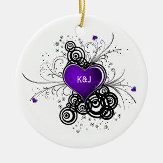 Ornament Purple Heart Black Swirls Wedding Keepsak