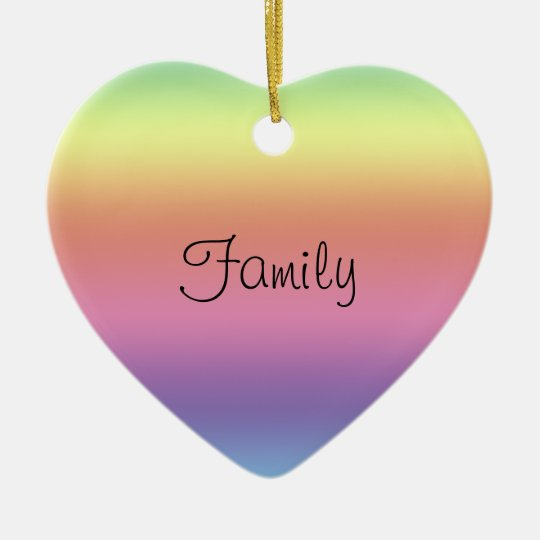 Ornament - rainbow colors and Family Heart