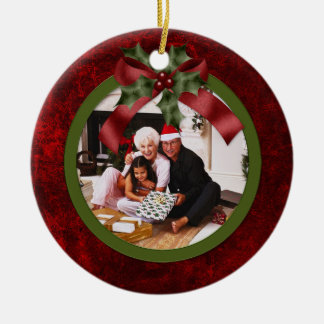 Ornament Red and Green Holly Bow Christmas Photo