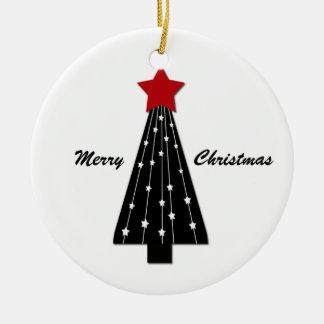 Ornament Red Star Black Tree