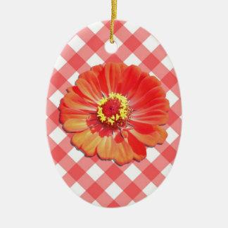 Ornament - Red Zinnia on Lattice