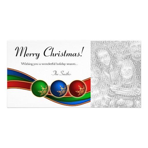 Ornament Ribbon Christmas Photo Card