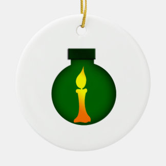 Ornament Round Green Yellow Candle on it