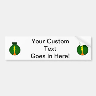 Ornament Round Green Yellow Candle on it Bumper Sticker