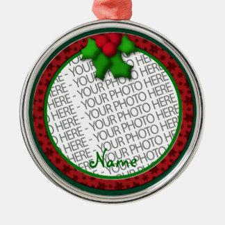 Ornament, Round Premium, Template, Add your pic! Metal Ornament