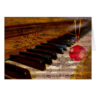 ornament rustic collage piano teacher Cards