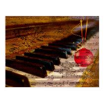 ornament rustic  piano teacher Christmas PostCard