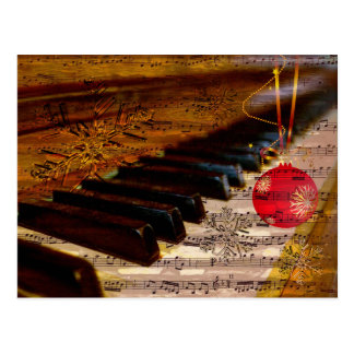 ornament rustic  piano teacher Christmas PostCard