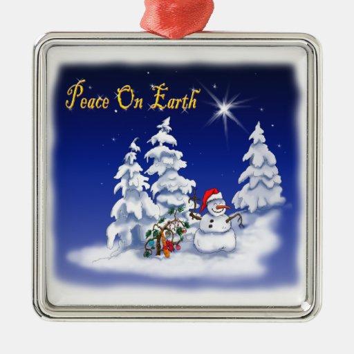 Ornament snow man peace on earth