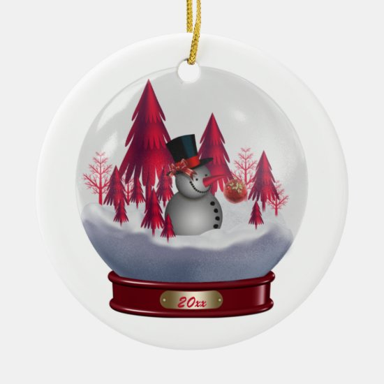 Ornament Snowman Red Christmas Trees Snow Globe