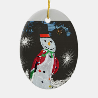 Ornament:  Snowman, Winter, Christmas, Holiday Ceramic Ornament