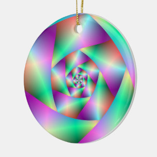 Ornament  Spiral in Turquoise and Pink