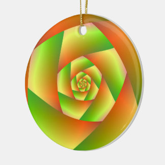 Ornament  Spiral in Yellow Orange and Green