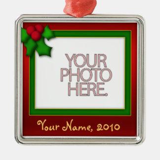 Ornament, Square Premium, Template, Add your pic! Square Metal Christmas Ornament