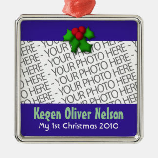 Ornament, Square Premium, Template, Add your pic! Metal Ornament