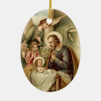 Ornament: St. Joseph Nativity Double-Sided Oval Ceramic Christmas Ornament