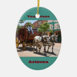 Ornament Stagecoach Ride 3 Oval Green