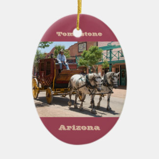 Ornament Stagecoach Ride 3 Oval Red