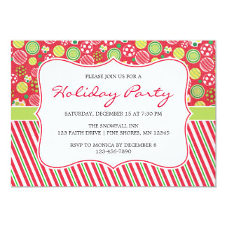 Ornament Stripes Christmas Holiday Party Card