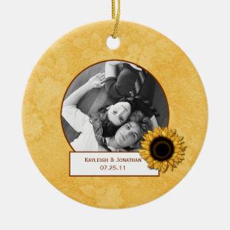 Ornament Sunflower Photo Wedding Keepsake