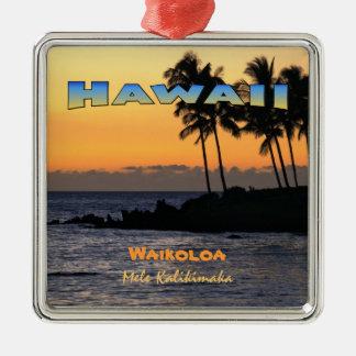 Ornament: Twilight At Waikoloa (Premium Square) Metal Ornament