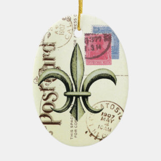 Ornament...Vintage fleur de lis postcard Ceramic Ornament